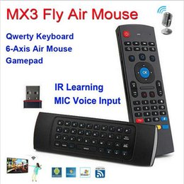 Wholesale Mic M - X8 Mini Wireless Keyboard Fly Air Mouse Remote G Sensing Gyroscope Sensors MIC Combo MX3-M For MX3 MXQ M8 M8S M95 S905 STB Android TV BOX