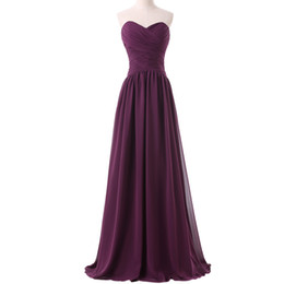 Wholesale quality stock photos - Latest High Quality Sweetheart A Line Floor Length Long Chiffon Purple Evening Dress Stock Formal Party Gown 2016