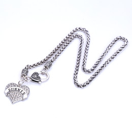Wholesale Runners Necklace - Drop Shipping New Arrival rhodium plated zinc studded with sparkling crystals RUNNER heart pendant wheat chain necklace