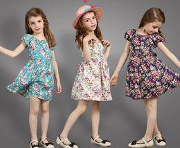 Wholesale Dreses Tutu - 2016 Summer Children Girls Floral Printing Short Sleeve Cotton Dreses Blue Navy Beige Birthday Party Flowers Sundresses B4099