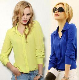 Wholesale Office Wear Xxl - Work Wear 2015 Women Shirt Chiffon Tops Elegant Ladies Formal Office Blouse 5 Colors Blusas Femininas Plus Size XXL