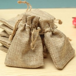 Wholesale Gunny Bags - Small Drawstring Linen Jewellery Pouch Rings Beads Watch Mini Hessian Candy Bag Burlap Jute Gift Wedding Favor Gunny Bags 7x9cm DHL Free