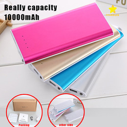 Wholesale External Battery Light - 10000mAH Power Bank Ultrathin External Battery Dual USB Phone Charger LED Light for iPhone 7 Plus Samsung Galaxy with Retail Package