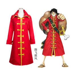 Wholesale Monkey D Luffy Cosplay - Japanese Anime Costume ONE PIECE Cosplay Monkey D. Luffy Costume Red Cloak for Men and Women