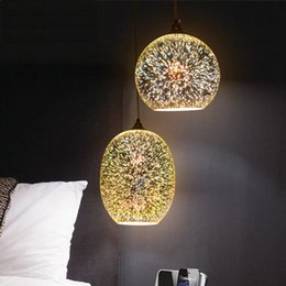 Wholesale Led Tables Bars - Fashion creative 3D stained glass lampshade pendant light personalized Art Deco restaurant and bar table fireworks exhibition pendant lamp