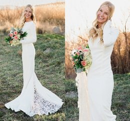 Wholesale Fall Winter Long Sleeve Wedding Dresses Sheath Crew Neck Chapel Train Lace Custom Made Simple Outdoor Garden Wedding Bridal Gowns Cheap