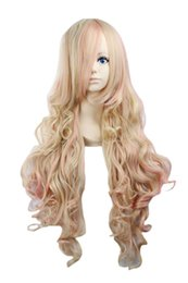 Wholesale Long Curly Blonde Pink Wigs - Womens Lolita Long Wavy Curly General Style Halloween Costume Cosplay Party Hair Full Wig 32 Inches (Blonde Pink)