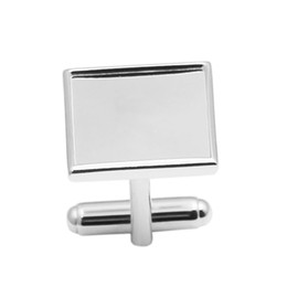 Wholesale Silver Square Cabochon Setting - Beadsnice 925 Sterling Silver Square Cufflink Blank Findings for DIY Mens Cuff Link Groomsmen Gifts 16mm Cabochon Setting ID 30930