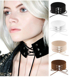 Wholesale Chunky Heart Necklaces - Lace Up Choker Black Velvet Choker Necklace Women Gothic Chokers Neck Boho Jewelry Harajuku Big Chunky Necklace Collier