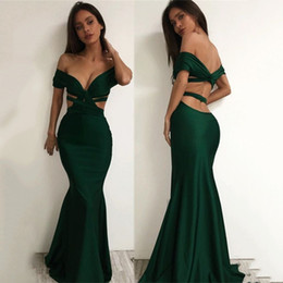 Wholesale Ombre Short Dress - Modest Long Green Satin Mermaid Prom Dresses 2017 Off Shoulder Sweetheart Ombre Prom Party Dress Women Party Gowns