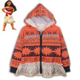 Wholesale Girls Jacket Multi Zippers - Baby Girls Spring Autumn Coat Kids Moana Cartoon Long Sleeve Zipper Hoodie Toddler Casual Printing Jackets