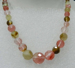 """Wholesale Watermelon Faceted Beads - Wholesale cheap 6-14mm Faceted Watermelon Tourmaline Gemstones Round Beads Necklace 18"""" Free Shipping"""