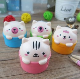 Wholesale Sharpener For School - 24pcs lot cute bear pencil sharpener two hole pencil sharpeners for kids erasers included school office supplies mixed color arranged