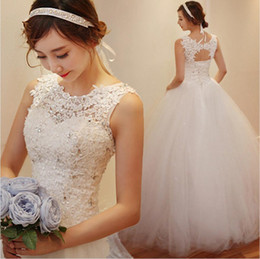 Wholesale Korean Ball Gowns - Korean Slim Tulle Bridal Wedding Dress New Romantic Custom Made Vintage Jewel Floor-Length Applique Beadings Wedding Vestidos Bridal Dress