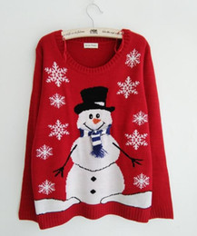Wholesale Ugly Sweaters - Wholesale-New-arriving Ugly Christmas Sweaters Lovely Snowman Wearing Special Scarf and Gloves Christmas Tree Snowflake Patterned