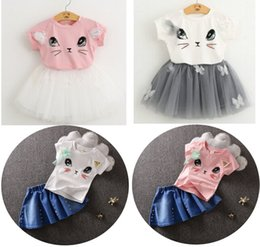 Wholesale Christmas Tutu Patterns - Children Set Kids Suit Outfits Summer Cat Pattern T-Shirts + Skirt 2 pcs Kid Lace Tutu Skirt Suits Child Denim Clothes Kids Clothing