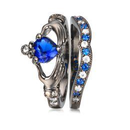 Wholesale Crown Rings For Men - 2016 European Heart & Crown Ring Set and Wedding Rings For Women Love Men Rings Jewelry in Dark Blue CZ Diamond