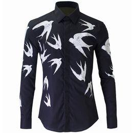 Canada Vente en gros- Nouvelle chemise noire hommes Chemise Homme 2016 luxe mode hirondelle imprimée Slim Fit à manches longues hommes robe chemises Casual Cotton Shirt Offre
