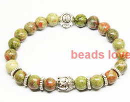 Wholesale Green Amazonite - Silver 8mm Beads Natural Stone Amazonite Picasso Buddha Bracelets for Men and Women Jewelry 19cm Pick color(W03372-W03385)