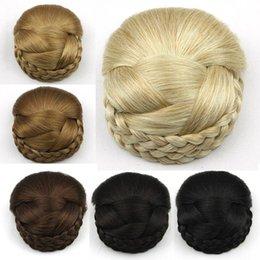 Wholesale braid hair clip - Wholesale-Braided Clip In Hair Bun, Chignon Hairpiece, Donut Roller Bun Hairpiece, 1pc