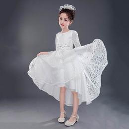 Wholesale Trailing Flowers - Retail 2017 Autumn Girls Dresses Children Lace Flower Long Sleeve Party Princess Wedding Birthday Evening Trailing Dress E9152