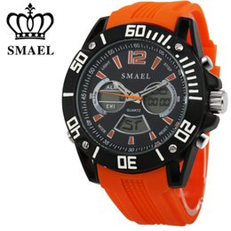 Wholesale Divers Watch Analog Digital - Wholesale-Big Dial SMAEL Sport Watch Men Waterproof Fashion Casual Watch LED Digital Quartz Mens Wristwatch Clock relogio masculino WS1035