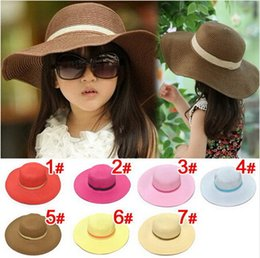 Wholesale Simple Straw Hats - 7 colors summer Children solid Simple elegant large brimmed straw hat baby girls Beach Hats sun hat