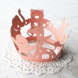 100pcs Trasporto libero Laser Cut bella Little Animal Christmas Birthday Baby Shower Decorazione del partito Cupcake Wrapper Fodera Focaccina Holder da