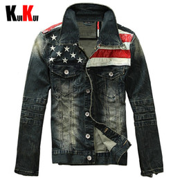 Wholesale Mens Denim American Flag Jacket - Fall-Male Fashion Jeans Jackets Men American Flag Denim Jacket Outerwear Mens Motorcycle Outdoor Long Sleeve Casual Overcoat Size 3XL