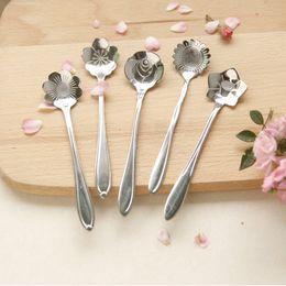 Wholesale Wholesale Stainless Steel Flatware - Tableware Flower Shape Sugar Stainless Steel Silver Tea Coffee Spoon Teaspoons Ice Cream Flatware Kitchen Tool Best Price