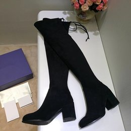 Wholesale Cheap Leather Thigh Boots - Hot Selling Cheap Chunky Heel 7.5cm Stretch Boots Woman New Arrival Thigh High Boots Lady Shoes High Heels Size 40 Original Box