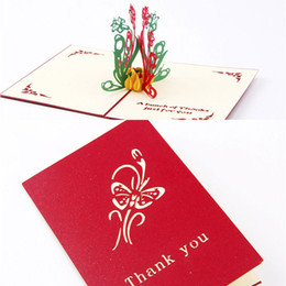 Wholesale Vintage Birthday Greeting Cards - 2 colors 3D Greeting Card Vintage Handmade Creative Kirigami & Origami 3D Pop UP Gift Cards Thank You Cards free shipping