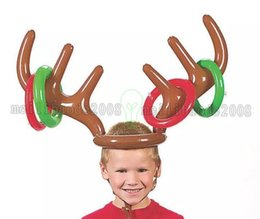 Wholesale Kids Reindeer Antlers - 2017 Inflatable Kid Children Toys Fun Christmas Toy Toss Game Reindeer Antler Hat With Rings Hats Party Supplies MYY