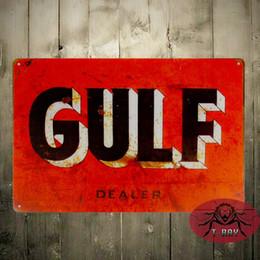 Wholesale Auto Dealer - Vintage Home decor TIN SIGN Gulf Dealer Oil Gas Pump Metal Parts Service Auto Shop Garage 160909#