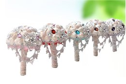 Wholesale Wedding Bouquet Bling - Bling Bling Amazing Hand Made Artificial Satin Rose Wedding Bouquets Crystal Rhinestone Purple Pink Green Red Bride Bridal Bridesmaid Pin
