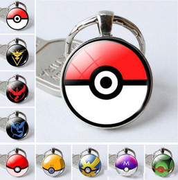 Wholesale Wholesale Animal Keyrings - Poe Kehain Poke Ball Glass Cabhon Charm Pendant Key Rig Keyring Team Instinct Mystic Valor Keychains