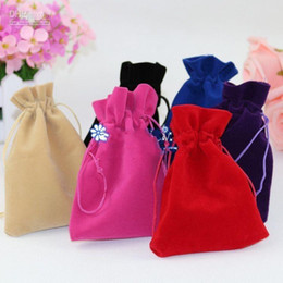 Wholesale Wedding Rings Velvet Bags - Black Jewelry Pouches Bags Velvet Drawstring Bags for Rings Necklace Wedding Gift DIY Packaging Jewelry bag 5 size to choose