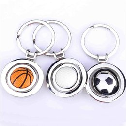 Wholesale Metal Mini Fans - Mini Rotatable Basketball Football Golf keychain keyrings key rings metal bag hangs soccer fans fashion jewelry Christams gift 170531