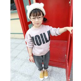 Wholesale Velvet Children S Clothing - Wholesale- 2016 autumn and winter new children 's clothing boys and girls plus velvet thicken sweater letters printed shirt
