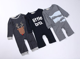 Wholesale Wholesale Little Girl Rompers - Little Bro Deer Shark Newborn Baby Rompers Baby Clothing Set Cotton Infant Jumpsuit Long Sleeve Girl Boys Rompers Costumes