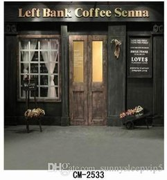Wholesale Outdoor Photography Backdrops - Outdoor Coffee Shop 5*7ft Photography Backdrop Photo Studio Gallery Computer Printed Photo Vinyl Backgrounds