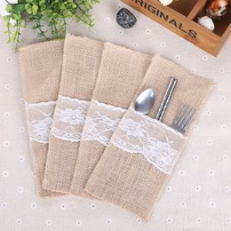 Wholesale Table Cutlery - Jute Lace Cutlery Pouch Knife Fork Tableware Bag For Christmas Party Wedding Dinner Table Decoration Accessories 1 5lq C R