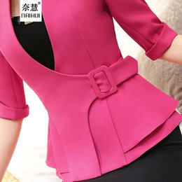 Wholesale Women Business Wear - 2016 Fashion business work wear Jacket Women Foldable half Sleeves V-neck Coat Candy Color feminino Blazer ladies Vogue casual office top
