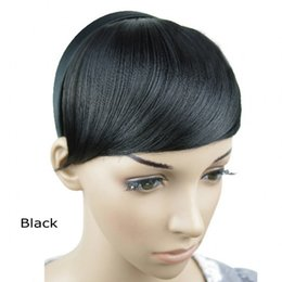 Wholesale Clip Straight Bangs - Wholesale-Hot! Hoop Oblique Bang Straight Lifelike Human Natural Hair 15CM*15CM Clip Bangs Hair Extensions Franja Frange cheveux humain