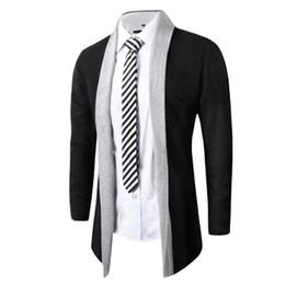 Wholesale Trench Fashion Men - 2016 New Man Overcoat Knit Cardigan Trench Parka Long Sleeve Fashion Coat winter jacket men brand clothing brand clothing