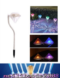Wholesale Wholesale Christmas Lawn Decorations - Solar outdoor RGB Diamond lights for garden lawn lights stainless steel waterproof LED solar christmas lights for yard decoration MYY