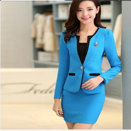 Wholesale Suit Jacket White For Woman - Wholesale-New 2016 Autumn Formal Jacket Sets Ladies Blazer Women Suits with Skirt Office Suits Work Uniform for Beauty Salon
