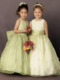Wholesale Best Selling Taffeta Wedding Dress - Best Selling Flower Girl Dress Jewel Bow Knot Sleeveless Floor Length Ruffles Pleats Flower Girl Dress Wedding Party