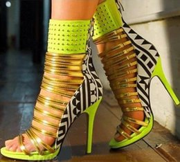 Wholesale Sexy Ladies Stripping - 2016 Sexy Fluorescent green suede Color matching Rivet Strip sandals boots open Toe Metal Ferret combination ladies sandals