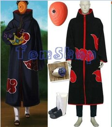 Wholesale Rings Naruto - Wholesale-Anime Naruto Akatsuki Tobi Madara Uchiha Deluxe Edition Cosplay Costume 4 in 1 Wholesale Combo Set (Cloak + Mask + Boots +Ring)